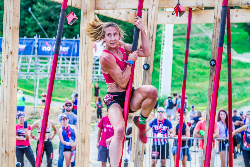 Athlete taking on the La Gaffe obstacle at OCRWC.